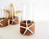 Starfish Rope Vase or Candle Holder, Beach Decor, Nautical Ocean Decor, natural jute rope twine seashell sea shell decor, container wedding