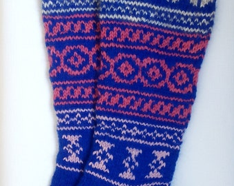 Hand Knit Colorful Socks-Womens Soks-Long Socks-Size Medium-US W6,5-7,EU38
