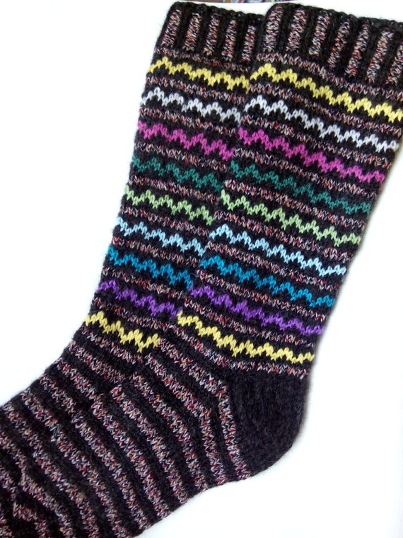 Knitting Pattern Wool Socks : SALE Hand Knitted Pattern Socks Womens Wool Socks-Long