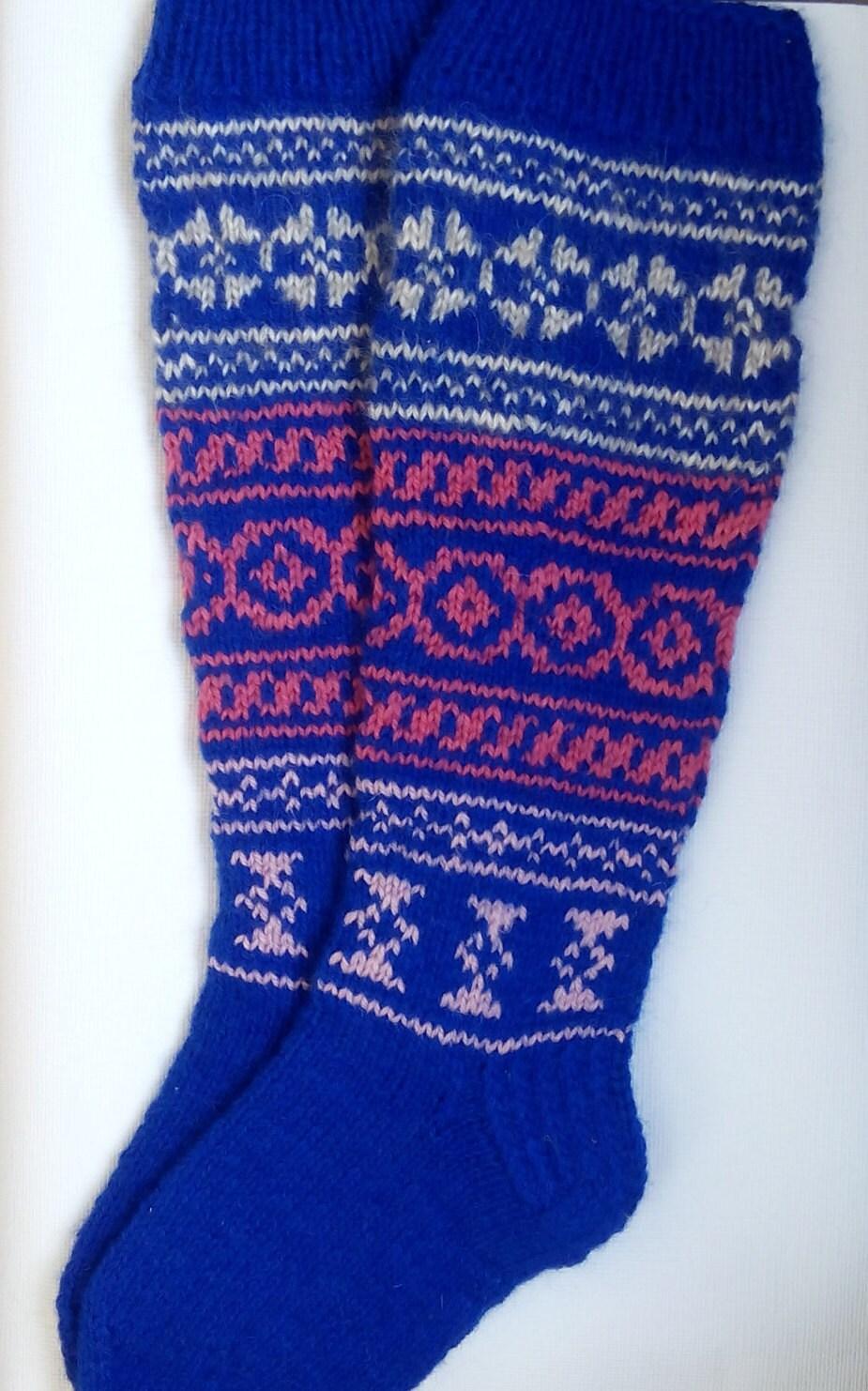 Hand Knit Colorful Socks-Womens Soks-Long Socks-Size Medium-US