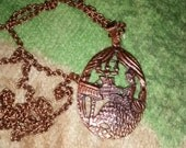 Copper Pendant On Chain...Victorian Lady Playing The Piano..Vivid Details...