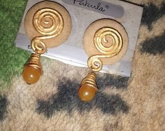 Pakula Suede Yellow Jade Earrings