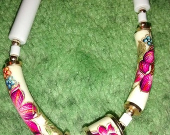 Porcelain Rose Tube Hand Painted Necklace