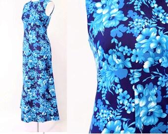 vtg 70s blue Hawaiian floral Tropical Festival Boho Caftan party Maxi Dress S