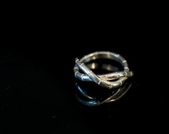 Hand crafted sterling Silver earth worm ring