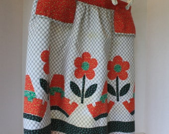 Vintage Apron with Danish Floral Design in Black and White, and Red