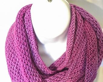 Merino wool Long Cowl/Infinity Scarf in Purple, Hand Knit