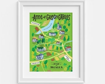 Anne of Green Gables map, illustrated map of Avonlea (12,60 x 18,10)