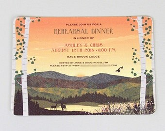 Craftsman Fall Appalachian Mountains (Sunset) with Wildflowers Rehearsal Dinner 5x7 Invitation with Envelope: Get Started Deposit
