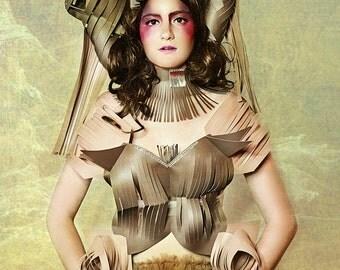 Driftwood Doll Paper dress outfit Avant Garde bustier corset crown editorial look costume costume Headdress  Hat headpiece