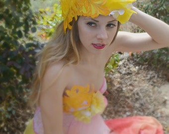 Yellow,Whimsical Lace,Fascinator,Derby,Royal Ascot,headpiece,headdress,High fashion,hat,Flower,headpiece,fascinator