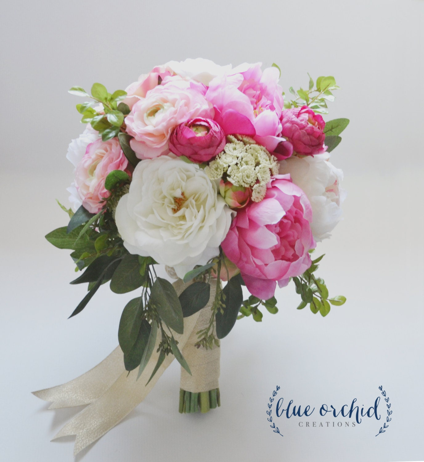 large peony bouquet with garden roses and ranunculus in pink