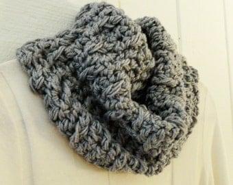 Crochet Chunky Cowl Heather Gray 22 Colors Textured Design Neckwarmer