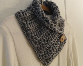 Crochet Button Scarf Neckwarmer Heather Gray Coconut Button Cowl Scarflette