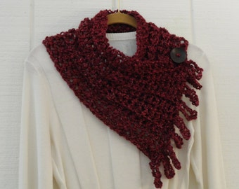 Crochet Button Fringe Scarf Wine Burgundy Maroon Button Neckwarmer Catniss Scarflette Cowl
