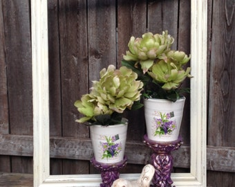 Purple French Country Pedestals w/ Flower Pots - 2 Indoor Table Top Planters on Pedestals