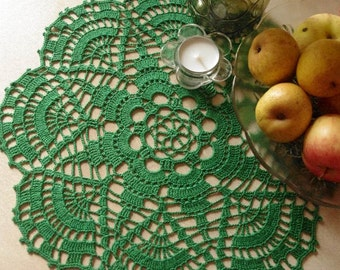 Crochet doily Green lace doily Crochet lace doilies Cotton crochet doilies Home decoration Christmas decor