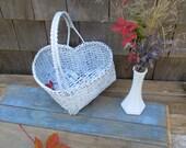Vintage Woven Heart Flower Girl Basket