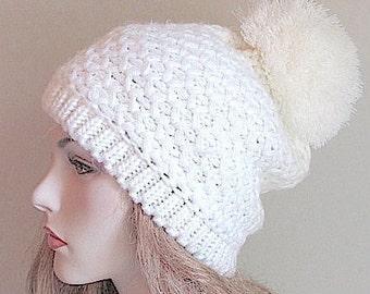 Slouchy Pompom Beanie White Chunky Pom- pom Tam Hat Berets
