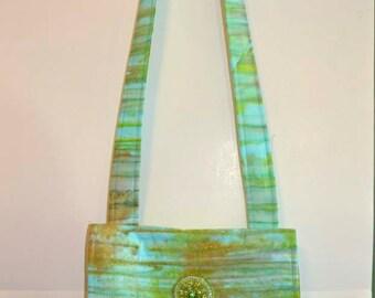 Pastel Blue Green and Brown Batik Messenger Bag