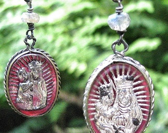 French St Anne of Beaupre Vintage Mercury Glass Medals