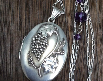 Antique Post Edwardian 800 Silver Grapes and Leaves Locket Necklace