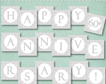 Instant Download 60th Anniversary Banner - Diamond Anniversary or wedding banner - printable PDF