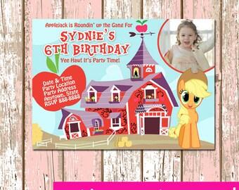 MLP My Little Pony Applejack Invitation Digital File 4X6 or 5X7