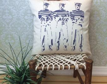 Nautical Pillow Cover, Vintage Sailor Art, Nautical Decor, Sailor Print, Sailor Accessories, Nautical Cushion, Vintage Illustration