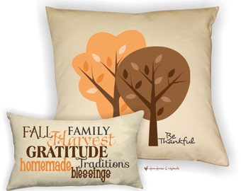 Be Thankful Cotton Pillow Set, Fall Pillows, Thanksgiving Pillow, Harvest Pillow, Fall Pillow Set, Fall Festive Decor, Thanksgiving Decor