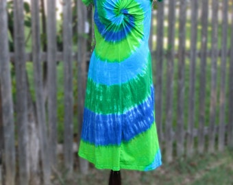Twist-front Blue and Green Short-Sleeved Tie-dye Dress