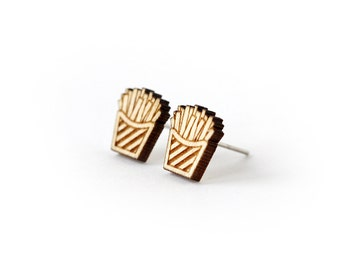 French fries studs - miniature food earrings - tiny posts - mini jewelry - fast food - lasercut wood - hypoallergenic surgical steel