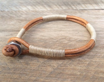 Mens Natural Bracelet, Guys Bracelet, Mens Leather Bracelet, Mens Jewelry, Tan Bracelet, Stainless Steel Bracelet, Husband Gift, Dad Gift