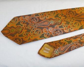 Vintage Men's Tie, Orange Yellow and Brown Paisley Pattern
