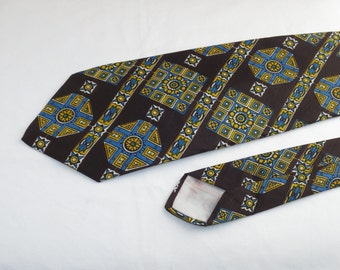 Vintage Wembley Men's Wide Tie, Brown Yellow White and Blue Pattern