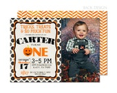 Jack O' Lantern Halloween Birthday Party Invitation   Pumpkin   Printable OR Professionally Printed   5x7