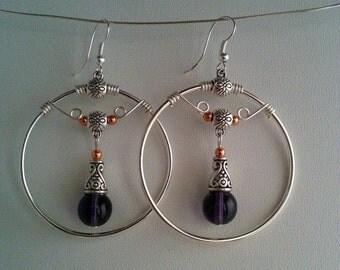 Silver Hoop Earrings with Copper & Purple