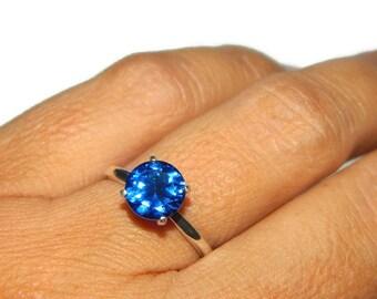 Blue Sapphire Ring, Sterling Silver Engagement Ring, September Birthstone