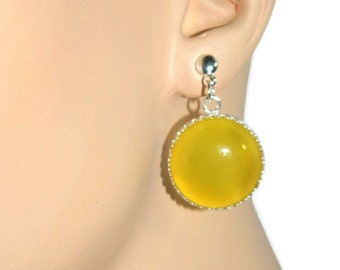 Sunshine Yellow Earrings, Sterling Silver, Yellow Agate Earrings, Big 20mm Stones