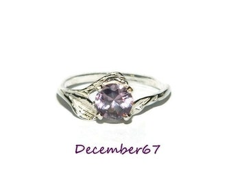 Leaf Ring, Engagement Ring, Alexandrite Ring, Set In Sterling Silver,  1.30 Carat Stone