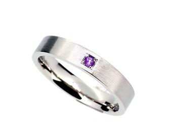 Palladium wedding ring with purple diamond, man wedding band, modern, diamond, men purple wedding, unique, commitment ring, man engagement