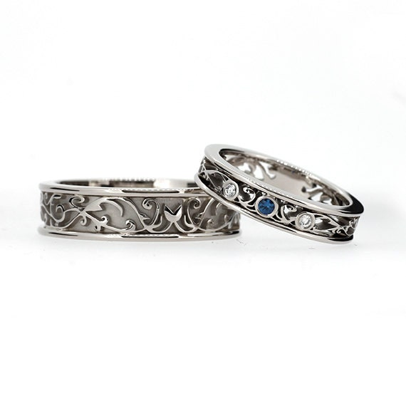Teal Diamond Filigree Wedding Band Set White Gold Ring Set
