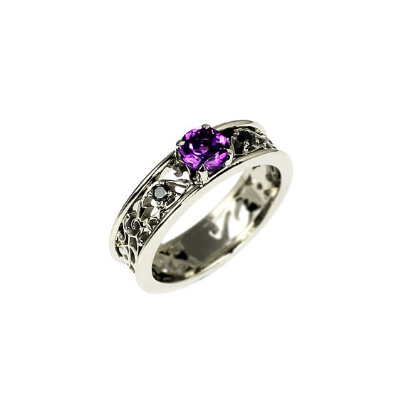 amethyst ring, filigree, engagement ring, black Diamond, wedding ring,  amethyst, filigree engagement, white gold, gothic, purple, black