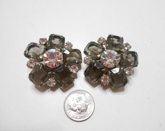 Vintage Large Smoky Gray Crystals & Clear Rhinestone Clip Earrings (1660)