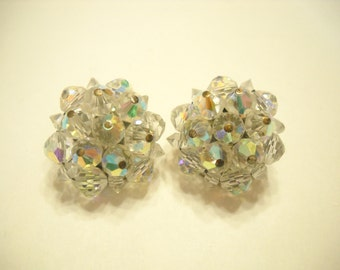 Vintage Crystal Clip Earrings (9710) Laguna