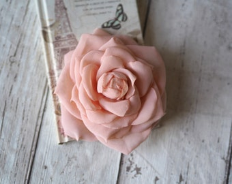 Bridal Flower Clip, Wedding Hair Rose, Blush Hair Accessory, Peach Hair Rose, Peach Flower Hair Clip