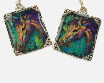 Horse Earrings Picture 3D Jewelry Dimensional Artistic Green Silver Picture Earrings