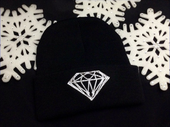 Diamond Winter Hat w/ Swarovski Crystal Collector GlassSlippers Black White Hot Pink Beanie Hip Hop Holiday Skull Cap Rhinestone Bling Gift