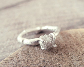 raw diamond ring raw diamond engagement ring twig ring rough diamond ring