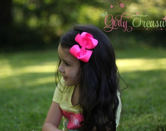 Neon Pink Bow Headband. Neon Pink Baby Headband. Girl Headband. Newborn Headband. First Birthday Headband. Neon Pink Headband.